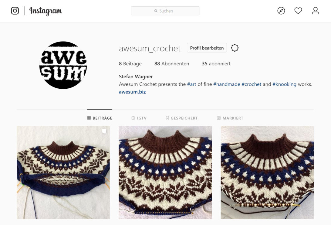 awesum crochet instagram profile screenshot